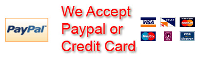 We accept paypal and all major credit cards on secure check out technology